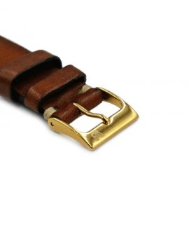 Gold Buckle on brown watch leather strap Watchbandit