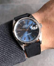 Rolex Datejust 36 Referenz 16234 an schwarzen Nubuk Kalbslederarmband von WB Original