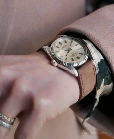 Rolex Datejust 36 Referenz 1601 an haselnuss-braunen Nubuk Kalbslederarmband von WB Original