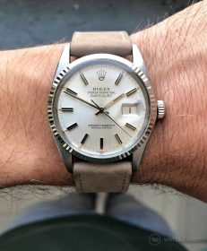 Rolex Datejust 36 Referenz 16014 an sand beige Kalbsleder Nubuk Lederarmband von WB Original