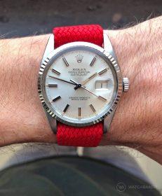 Rolex Datejust 36 Referenz 16014 an Perlon-Armband rot von WB Original