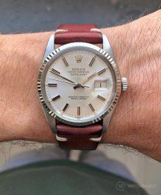 Rolex Datejust 36 Referenz 16014 an braunem Vintage-Lederarmband von WB Original