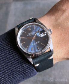 Rolex Datejust 36 Referenz 16234 an dunkelblauen Vintage-Lederarmband von WB Original
