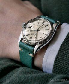 Rolex Datejust 36 Referenz 1601 an petroleum-grünen Vintage-Lederarmband von WB Original