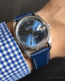 Rolex Datejust 36 Referenz 16234 an blauen strukturierten Kalbslederarmband von Watchbandit