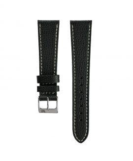 Textured calfskin leather watch strap black front watchbandit