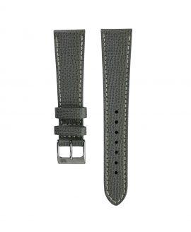 Textured watch leather strap dark grey front watchbandit