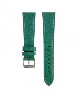 Textured calfskin leather watch strap petrol green front watchbandit