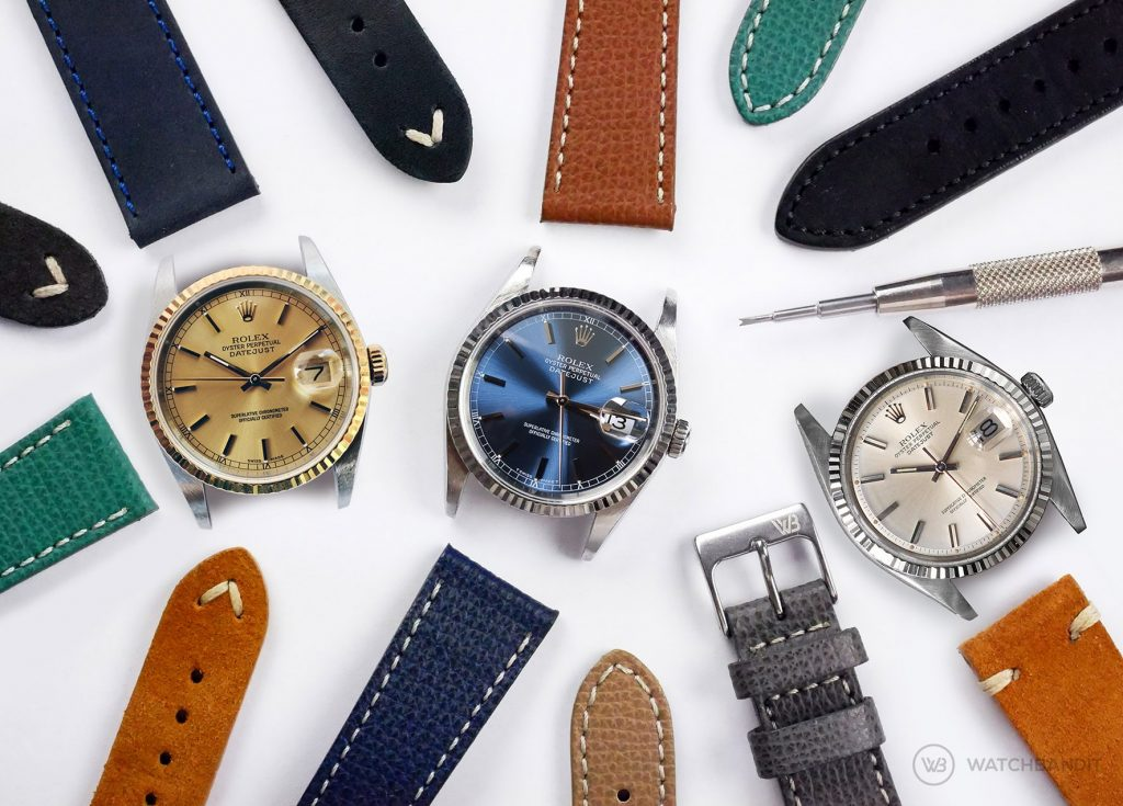 Rolex Datejust 36 leather Strap Guide collection reference 16234 16233 1601 two tone blue white dial