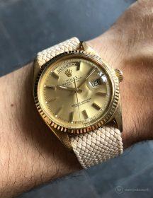 Rolex Day-Date an beigen Perlon-Armband von WB Original