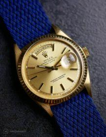 Rolex Day-Date an blauen Perlon-Armband von WB Original