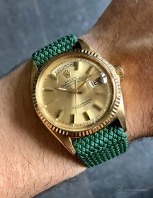 Rolex Day-Date an grünen Perlon-Armband von WB Original
