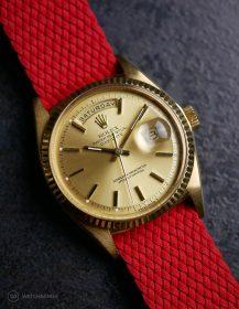Rolex Day-Date an roten Perlon-Armband von WB Original