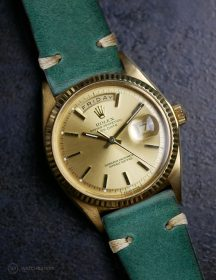 Rolex Day-Date an petrol-grünen Vintage-Lederarmband von WB Original