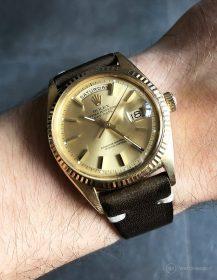Rolex Day-Date an militär-grünen Vintage-Lederarmband von WB Original