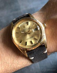 Rolex Day-Date an dunkelgrauen Wildlederarmband von WB Original