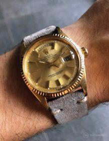 Rolex Day-Date an grauen Wildlederarmband von WB Original