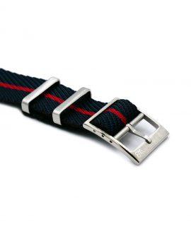 Adjustable NATO strap black blue red buckle