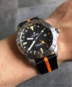 Steinhart Ocean Vintage GMT Strap guide schwarz orange zweiteiliges NATO strap