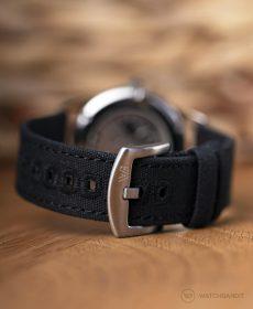 NOMOS Club Campus dunkel Canvas armband schwarz dornschließe