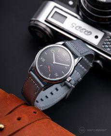 NOMOS Club Campus dunkel premium zweiteiliges NATO uhrenarmband grau Watchbandit