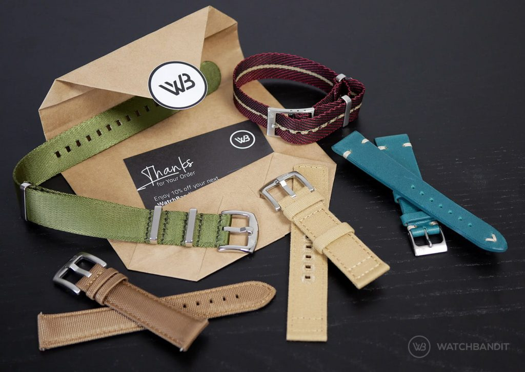 Watchbandit packaging and watch straps