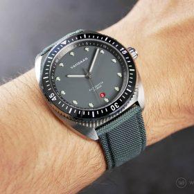 VANDAAG Tiefsee Automatik graues Segeltuch armband