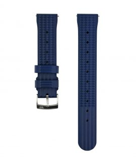 Waffle Rubber watch strap_Blue_Front