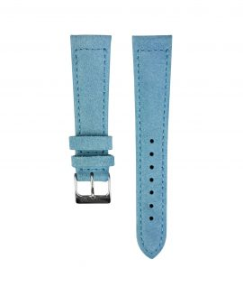 Suede leather strap with side seam_light blue_front