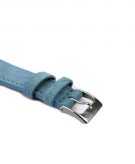Classic stitching suede leather strap_light blue_side buckle