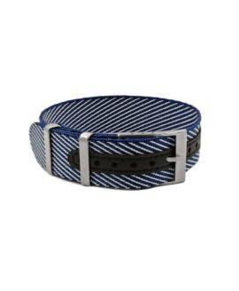 Premium Adjustable Single-Pass Nato Strap_Blue-White_WB Original