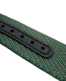 Premium Adjustable Single-Pass Nato Strap_Green_leather reinforced_macro