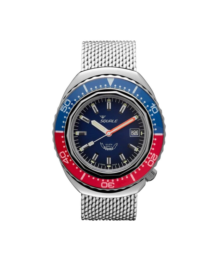 Squale 2002 101 Atmos Blue dial Blue red bezel_front-min